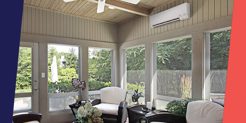 ductless ac unit over windows in open living room