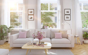 indoor air represented by bright, airy living room